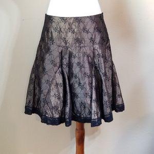 SoulMates Skirt Junior Sz 5 Brown Black Lace Trim